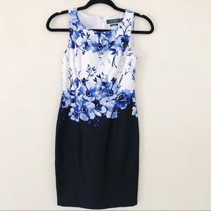 Ralph Lauren Blue Floral Sheath Dress